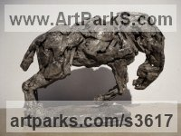 Bronze Horses Heavy / Working Shire, Plough, Dray, Barge, Horses Sculptures Statues statuettes commissions memorials sculpture by Emma Walker titled: 'Bronco 1 (Bronze small Horse statuettes Semi abstract Stylised)'