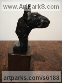 BRONZE/MILD STEEL BASE Dogs sculpture by Emma Walker titled: 'Bull Terrier (Bronze maquette Head Bust sculptures)'