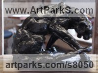 BRONZE African Animal and Wildlife sculpture by Emma Walker titled: 'Leopard Crouching (Little Bronze Big Cat statuette statue)'
