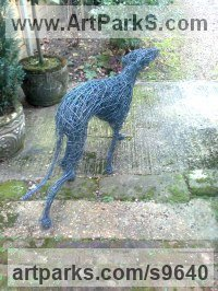 GALVINISED STEEL WIRE Dogs sculpture by Emma Walker titled: 'WALKING WHIPPET DOG (life size Wire garden sculptures)'