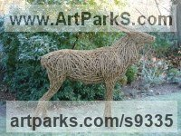 WILLOW/Steel bar. Willow, Bark and moss sculpture / statue / statuette sculpture by Emma Walker titled: 'Willow Stag (life size)'
