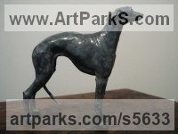 Bronze Pet and Animal Portrait Custom or Bespoke or Commission Commemorative or Memoriaql sculpture statue sculpture by Emma Walker titled: 'Whippet (bronze Little Table Top statue statuette figurine for sale)'