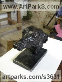 Bronze and Steel base Dogs sculpture by Emma Walker titled: 'Whippet Head (bronze life size Bust Inside Indoor statue sculptures)'