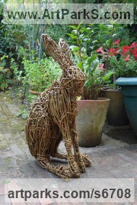 Willow Hares and Rabbits sculpture by Emma Walker titled: 'Willow HARE no.2 (Woven Willow garden/Yard statue/sculpture/For sale)'