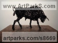 Galvinised wire Cattle, Kine, Cows, Bulls, Buffalos, Bullocks, Heifers, Calves, Oxen, Bison, Aurocks, Yacks sculpture by Emma Walker titled: 'Wire BULL (Small Angry Snorting statuette sculptures)'