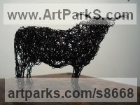 Galvinised wire Cattle, Kine, Cows, Bulls, Buffalos, Bullocks, Heifers, Calves, Oxen, Bison, Aurocks, Yacks sculpture by Emma Walker titled: 'Wire COW (Little Modern Standing Cattle sculptures)'