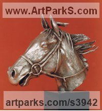 Silver Animal Birds Fish Busts or Heads or Masks or Trophies For Sale or Commission sculpture by Enzo Plazzotta titled: 'Chasers Head (Silver Horse statuettes or sculptures)'
