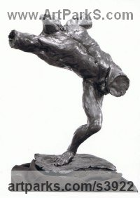 Bronze Stylized People sculpture by Enzo Plazzotta titled: 'Dynamic Torso (Male nude Small Bronze Poised statues)'