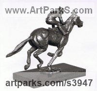 Bronze Commemoratives and Memorials sculpture by Enzo Plazzotta titled: 'Going Strong (Bronze Jockey and Racehorse sculpture)'