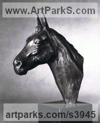 Bronze Field Sports, Game Birds and Game Animals sculpture by Enzo Plazzotta titled: 'Horses Head (small Bronze sculpture/Bust/statue/statuette for sale)'