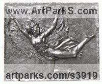 Bronze Wall Mounted or Wall Hanging sculpture by Enzo Plazzotta titled: 'Isadora Duncan (Bronze Plaque Wall sculptures)'