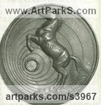 Bronze Wall Mounted or Wall Hanging sculpture by Enzo Plazzotta titled: 'Rearing Stallion (Low/Bas Relief Circular Wall Plaque Panel/sculpture)'