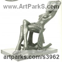 Bronze Little Small Nude or Naked Girls Women Ladies Females Sculpture Statue statuettes Figurines sculpture by Enzo Plazzotta titled: 'Study for Polly (Bronze seated nude Girl statuette/statue/figurine)'