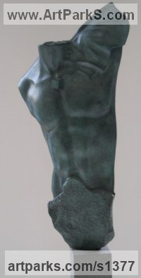 Bronze Sculpture of Men by Eppe de Haan titled: 'Angelo (bronze abstract life size Male Torso sculptures/statues)'