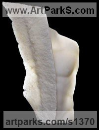 Statuario marble Sculpture of Men by Eppe de Haan titled: 'Angelo con scudo (Modern nude Male abstract Torso marble Carving statue)'