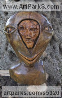 Olive wood Mask, Wall Hung Faces and Part Heads sculpture by Eric Kempson titled: 'Split personality. (Semi abstract Contemporary faceWood carving)'