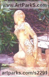 Bathstone Nudes, Female sculpture by Eric Stanford titled: 'Ariadne (Carved Contemporary nude Girl garden statues)'