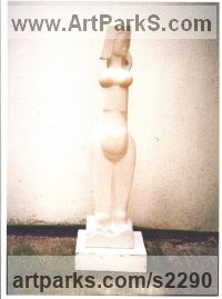 Portland Stone Pregnant and post Pregnant Women or Females sculpture by Eric Stanford titled: 'Ariadne on Naxos (Contemporary nude garden statues)'