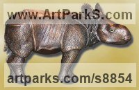 Bronze Asian Animals Reptiles Insects or Birds Sculptures or sculpture by sculptor Ernst Paulduro titled: 'Baby Indian Rhinoceros ALBRECHT (Little Rhino statue)'