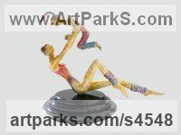 Bronze Dance Sculptures and Ballet sculpture by sculptor Esther Wertheimer titled: 'Aerobics'