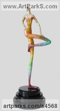 Bronze Human Form: Abstract sculpture by sculptor Esther Wertheimer titled: 'Bent Knee'