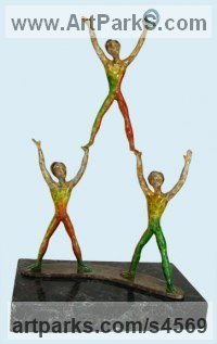 Bronze Children Child Babies Infants Toddlers Kids sculpture statuettes figurines sculpture by sculptor Esther Wertheimer titled: 'Child on High'