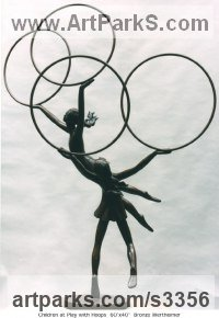 Bronze Children Child Babies Infants Toddlers Kids sculpture statuettes figurines sculpture by sculptor Esther Wertheimer titled: 'Children at Play and Hoops (Bronze Two Girl`s Playing in garden statue)'