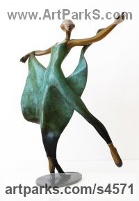 Bronze Dance Sculptures and Ballet sculpture by sculptor Esther Wertheimer titled: 'Dance with Shawl'