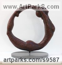 Bronze Round Disk, Dish, Flat Circular Ring Shaped Sculptures / Statues statuette statuary sculpture by Eva Humphrey-Lahti titled: 'Full Circle (Little nude Gymnast sculpture)'