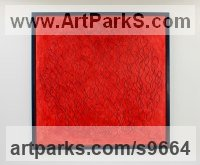 Oil and plaster on board Wall Panel Carved Engraved Cast Moulded Sculpture Statue plaque sculpture by Eva Humphrey-Lahti titled: 'Hot Mirage (Red Low Relief abstract sculptures)'