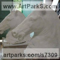 White Statuary Carrara Marble Classical Style Sculptures and Statues sculpture by Fabrizio Lorenzani titled: 'Classical Horse Head (marble Carved statue)'