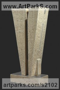 Stone travertine, steel Minimalist Understated Abstract Contemporary Sculpture statuary statuettes sculpture by Fabrizio Lorenzani titled: 'Construction (Carved Modern abstract statues)'
