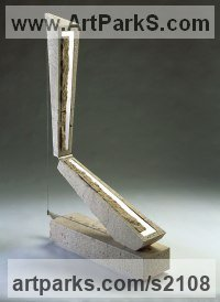 Travertine Marble, steel Minimalist Understated Abstract Contemporary Sculpture statuary statuettes sculpture by Fabrizio Lorenzani titled: 'Suspense of Time (Minimalist abstract statue)'