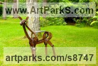 Bronze Abstract Contemporary or Modern Outdoor Outside Exterior Garden / Yard Sculptures Statues statuary sculpture by Fanny Lam Christie titled: 'The Encounter (Semi- abstract Bronze Deer sculpture)'
