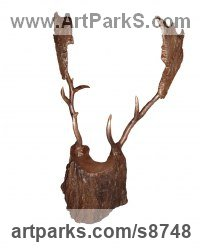 Bronze Deer sculpture by Fanny Lam Christie titled: 'The Trophy (abstract Male Deer Head sculpture)'