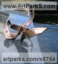 Bronze Abstract Fish sculpture by Fanny Lam Christie titled: 'Upstream (abstract Swirling Salmon sculpture)'