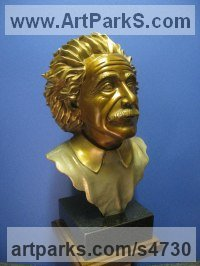 Bronze Human Figurative sculpture by Felix Velez titled: 'Albert E. (Albert Einstein Portrait/Bronze sculpture, Bronze bust)'