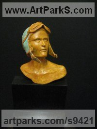 Bronze Historical Character Statues / sculpture by Felix Velez titled: 'Amelia (Earhart Bronze Bust/Head sculptures) [5129]'