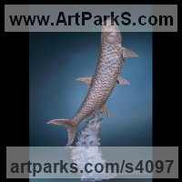 Bronze Big Game Fish Sculptures and Statues sculpture by Felix Velez titled: 'Breaking Waves (Big Bronze Tarpon Game Fish sculpture)'
