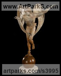 Bronze Angel sculpture by Felix Velez titled: 'Broken Promises (Flying Bronze nude Male Angel statue)'