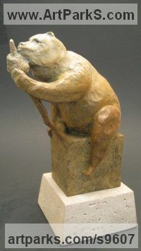 Bronze Bears sculpture by Felix Velez titled: 'Honey comb Bear'
