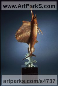 Bronze Aquatic Sculptures Fish / Shells / Sharks / Seals / Corals / Seaweed sculpture by Felix Velez titled: 'Marlin (Small Bronze Table Top Game Fish sculptures)'