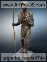 Bronze Commemoratives and Memorials sculpture by Felix Velez titled: 'Pilgrim of Peace (Bronze life size Mahatma Gandhi statue)'