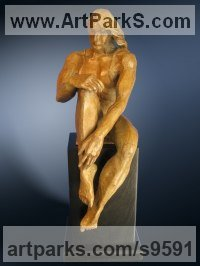 Bronze Nudes / Male sculpture by Felix Velez titled: 'The Thinker (Bronze Man Sitting Thinking sculptures)'