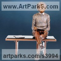 Bronze Portrait Sculptures / Commission or Bespoke or Customised sculpture by Felix Velez titled: 'Transcending Time (Bronze Einstein Sitting Yard statue)'