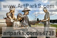 Bronze Couples or Group sculpture by Felix Velez titled: 'Whitney and Friends (Bronze Portrait Group sculpture)'