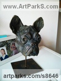 Cold Cast Bronze Dogs sculpture by Fernando Collado titled: 'French Bulldog (Head or Bust Portrait statuette)'