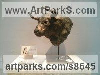Cold Cast Bronze Cattle, Kine, Cows, Bulls, Buffalos, Bullocks, Heifers, Calves, Oxen, Bison, Aurocks, Yacks sculpture by Fernando Collado titled: 'Toro Bravo (Bull Fighting Head sculpture statue)'