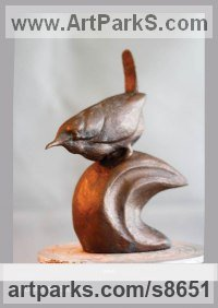 Cold Cast Bronze Resin Small bird sculpture by Fernando Collado titled: 'Wren (Perched Puffed Up Little Bird statuettes)'