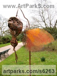 Recycled Steel and Copper Wire Insect Sculptures, to include Bees, Ants, Moths, Butterflies etc sculpture by Fiona Campbell titled: 'Butterfly on Spiky Pod (Semi abstract Contemporary garden sculpture)'